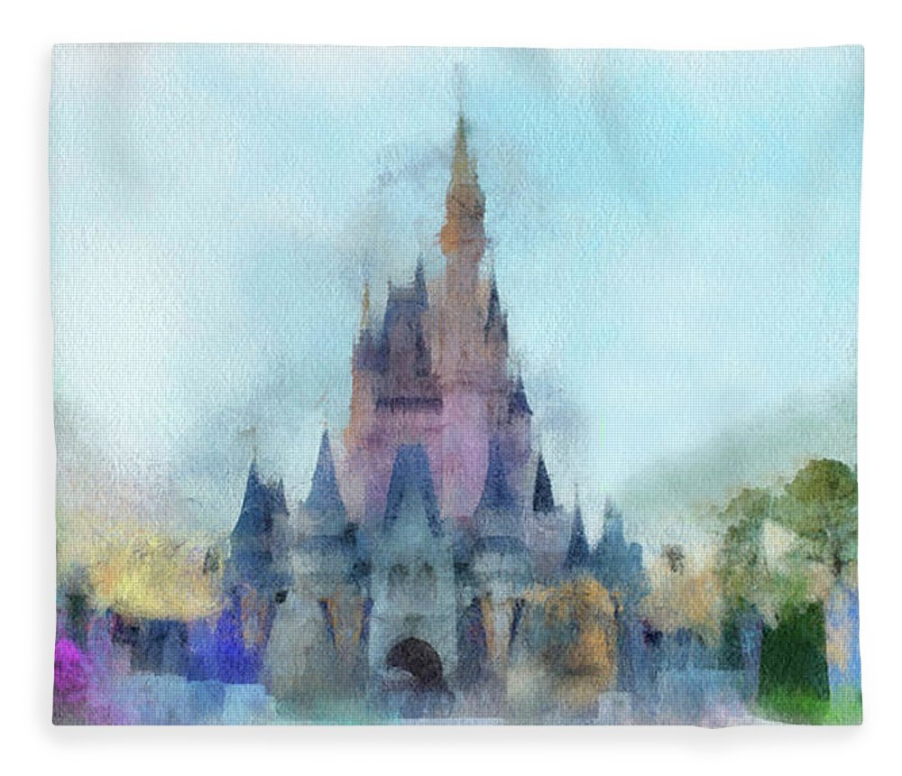 Castle Fleece Blanket featuring the photograph The Magic Kingdom Castle Wdw 05 Photo Art by Thomas Woolworth