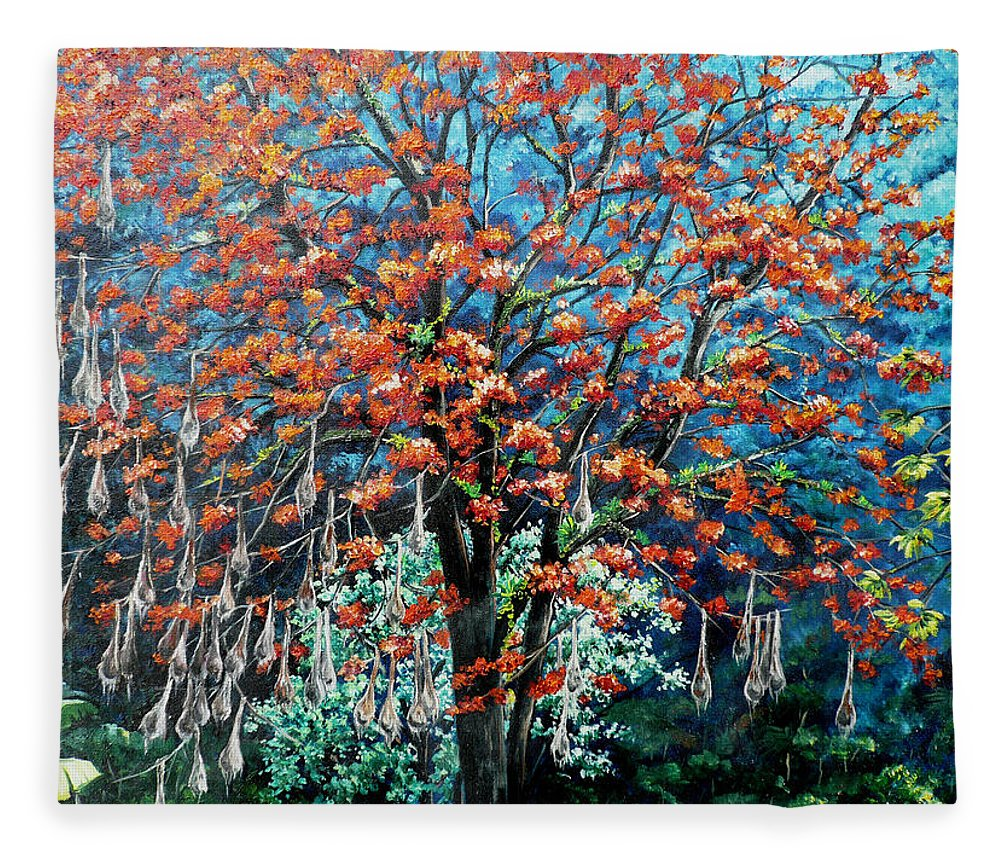 Tree Painting Mountain Painting Floral Painting Caribbean Painting Original Painting Of Immortelle Tree Painting  With Nesting Corn Oropendula Birds Painting In Northern Mountains Of Trinidad And Tobago Painting Fleece Blanket featuring the painting The Mighty Immortelle by Karin Dawn Kelshall- Best
