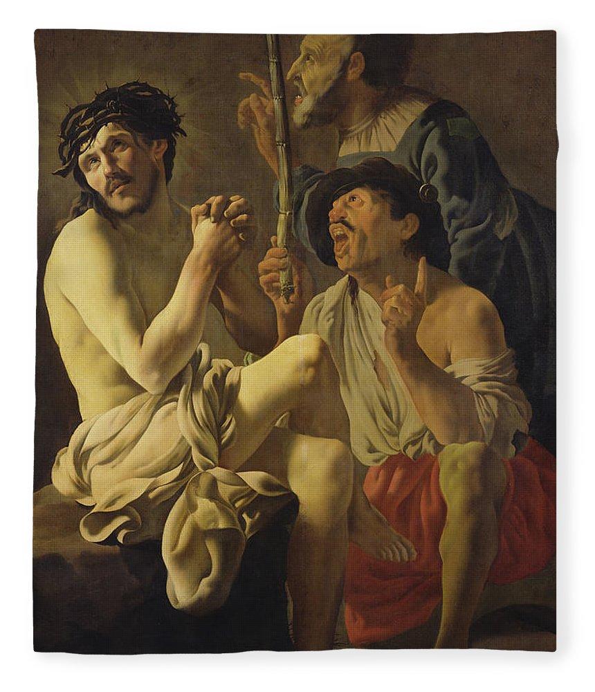 The Mockery Of Christ Fleece Blanket featuring the painting The Mocking Of Christ by Hendrick Ter Brugghen