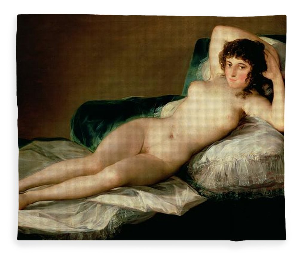 Nude Fleece Blanket featuring the painting The Naked Maja by Goya