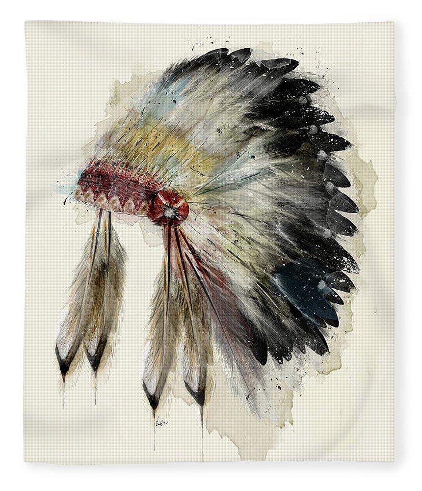 Native Headdress Fleece Blanket featuring the painting The Native Headdress by Bri Buckley
