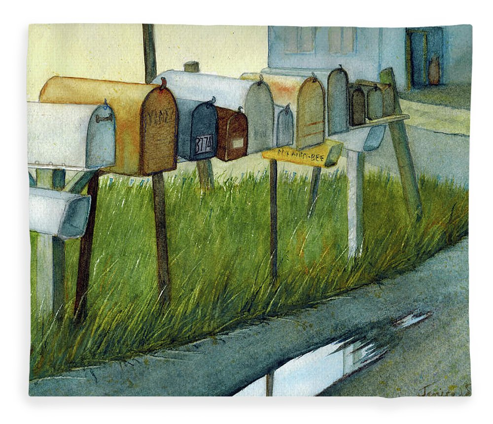 Landscape Fleece Blanket featuring the painting The Neighbors by Janice Sobien