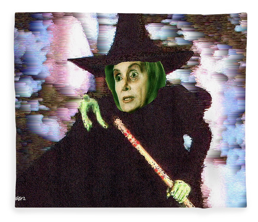 Wizard Of Oz Fleece Blanket featuring the digital art The New Wicked Witch of the West by Seth Weaver