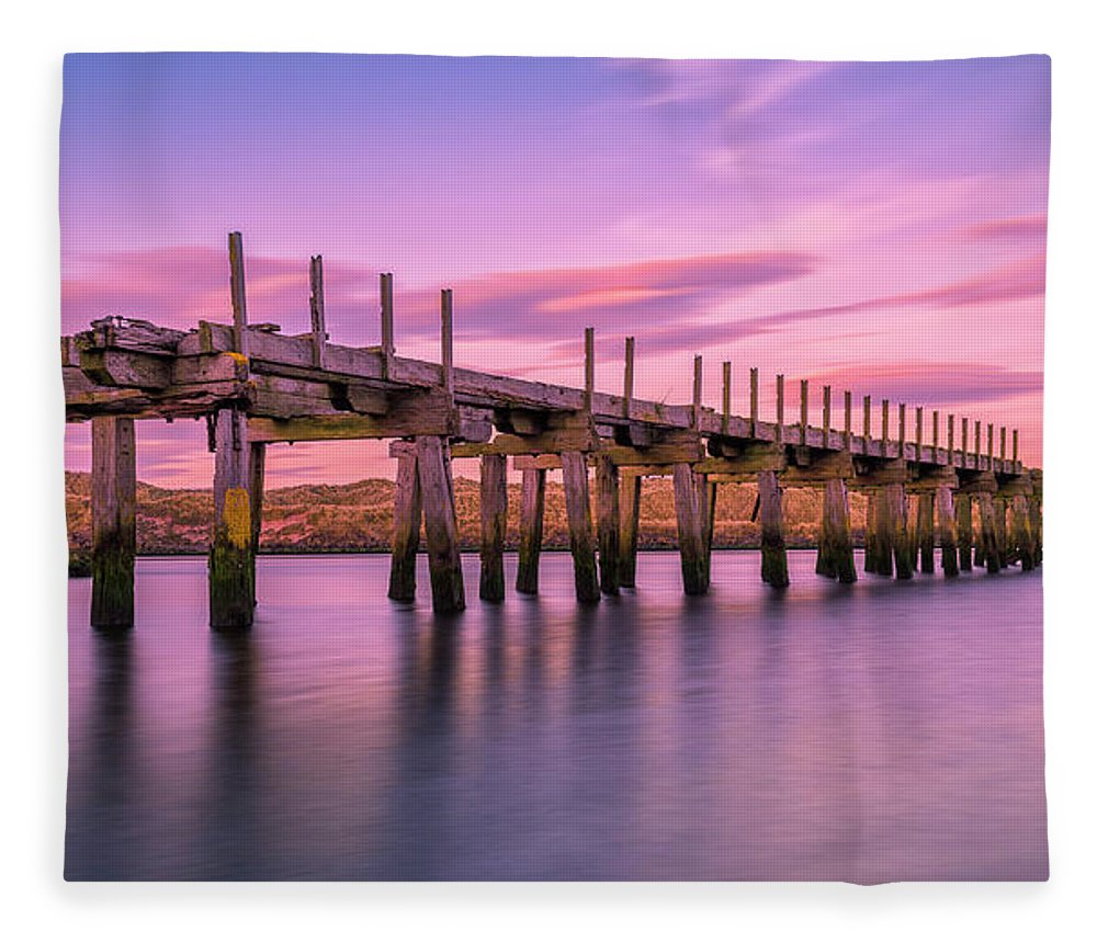 Old Bridge Fleece Blanket featuring the photograph The Old Bridge at Sunset by Roy McPeak