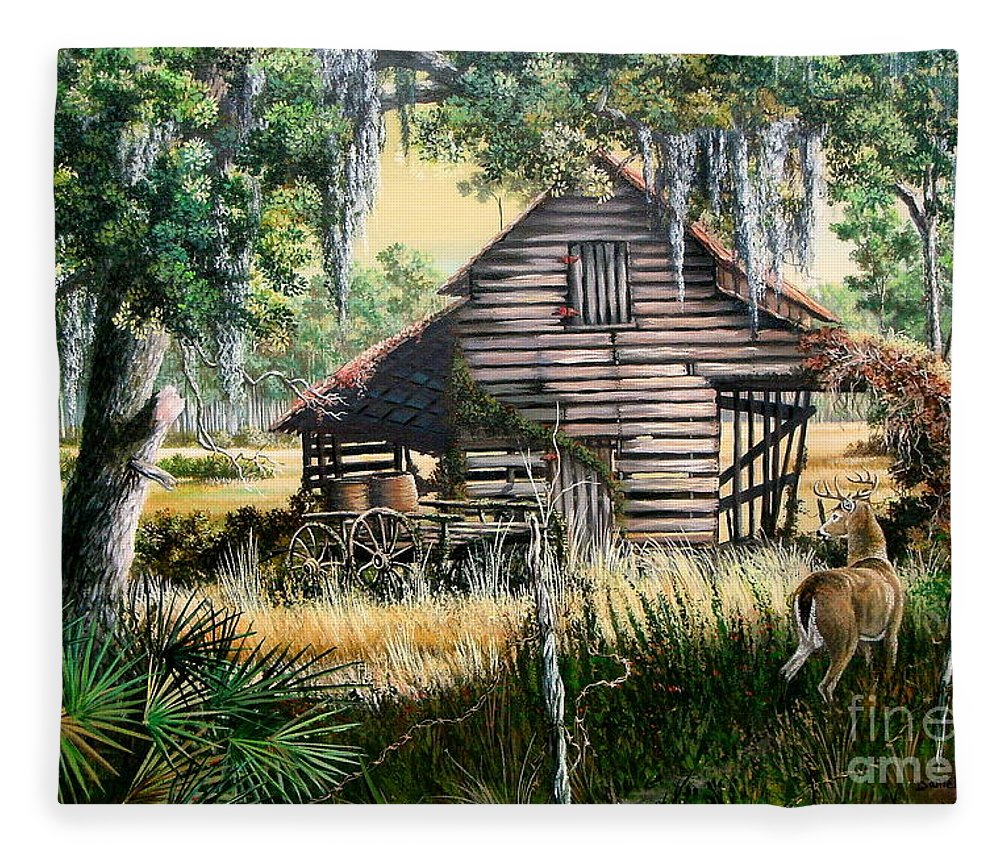 Florida Fleece Blanket featuring the painting Old Floridaturpentine Barn-a Florida Memory by Daniel Butler