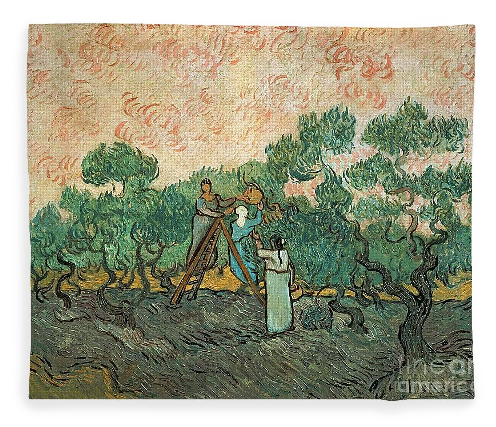 The Fleece Blanket featuring the painting The Olive Pickers by Vincent van Gogh