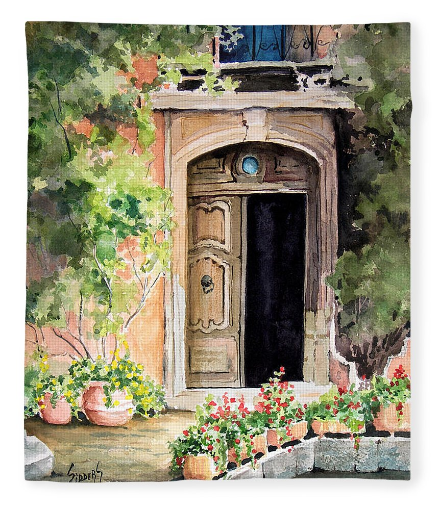 Door Fleece Blanket featuring the painting The Open Door by Sam Sidders
