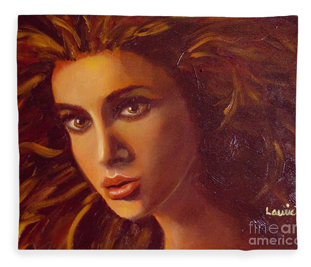 Portrait Fleece Blanket featuring the painting The Oracle by Laurie Morgan