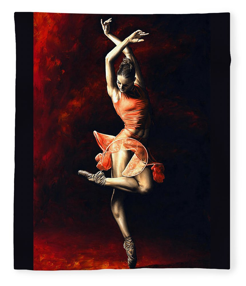 Dancer Fleece Blanket featuring the painting The Passion of Dance by Richard Young