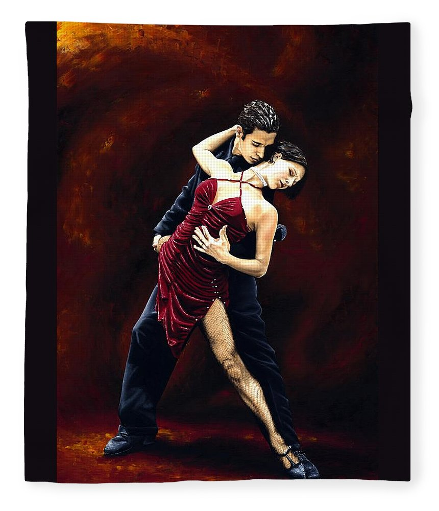 Tango Fleece Blanket featuring the painting The Passion of Tango by Richard Young