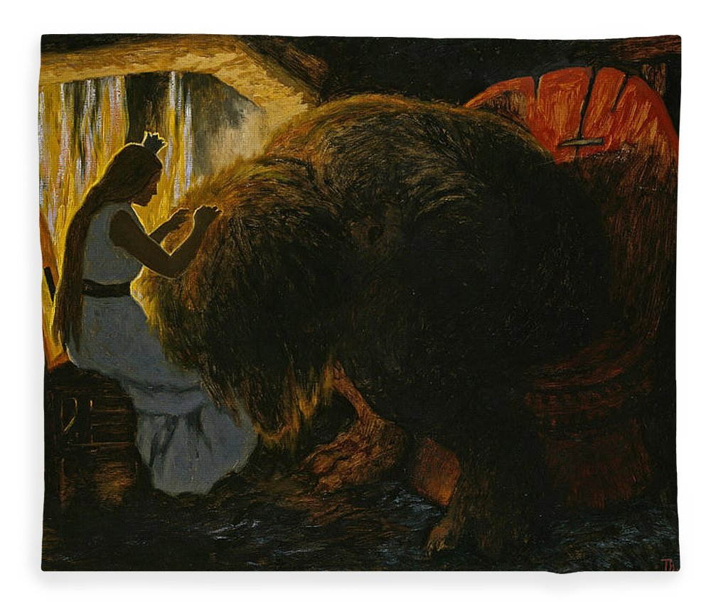 The Princess Picking Lice From The Troll Fleece Blanket For Sale By