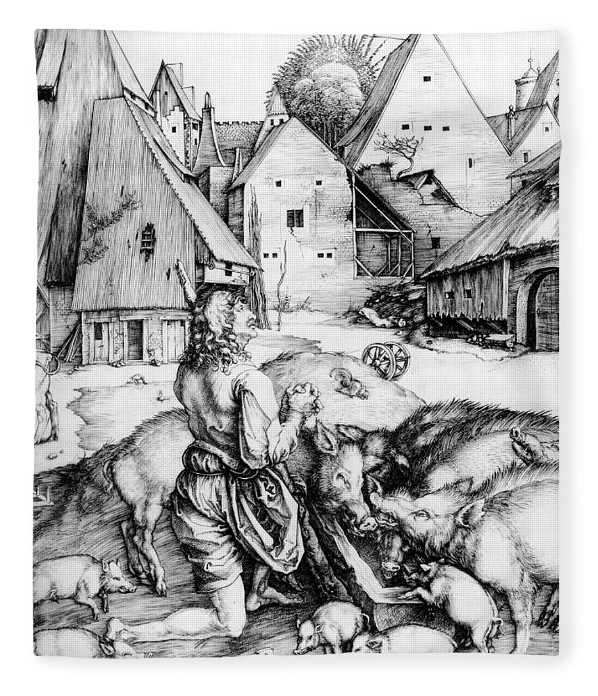 Religion Fleece Blanket featuring the drawing The Prodigal Son by Albrecht Durer or Duerer