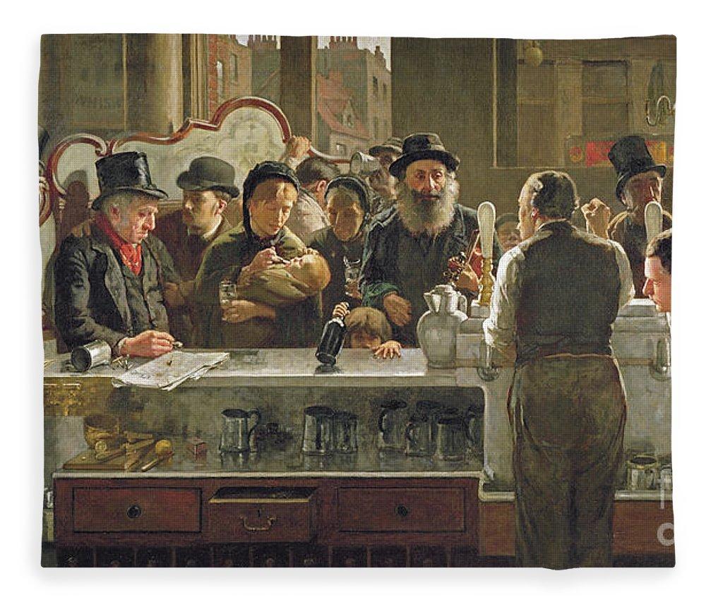 Drinking;drink;social;pub;landlord;barman;barmen Fleece Blanket featuring the painting The Public Bar by John Henry Henshall