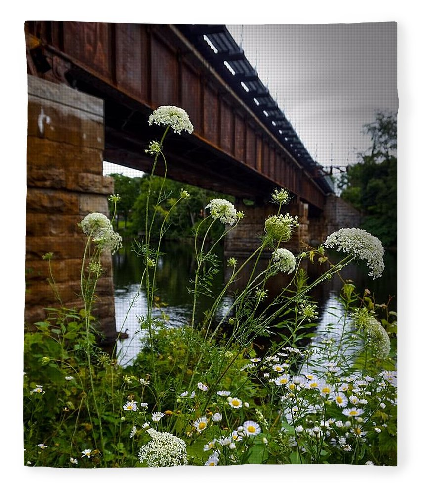 Fleece Blanket featuring the photograph The Railroad Bridge by Kendall McKernon