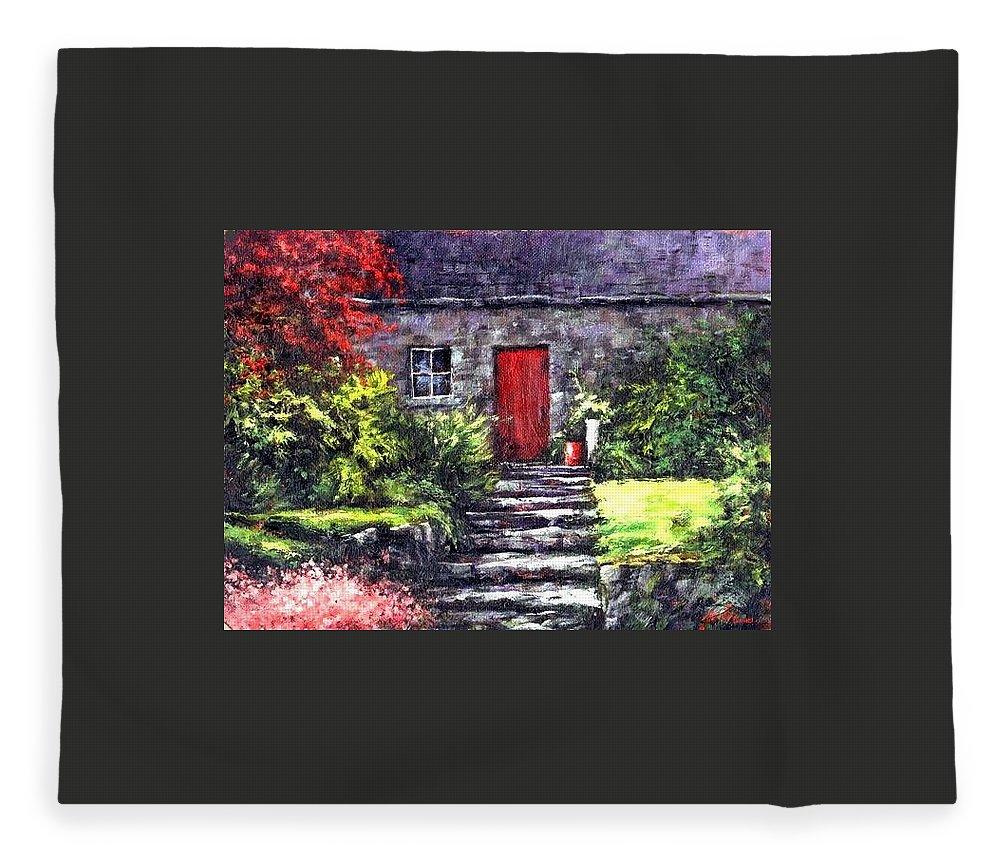 Ireland Fleece Blanket featuring the painting The Red Door by Jim Gola