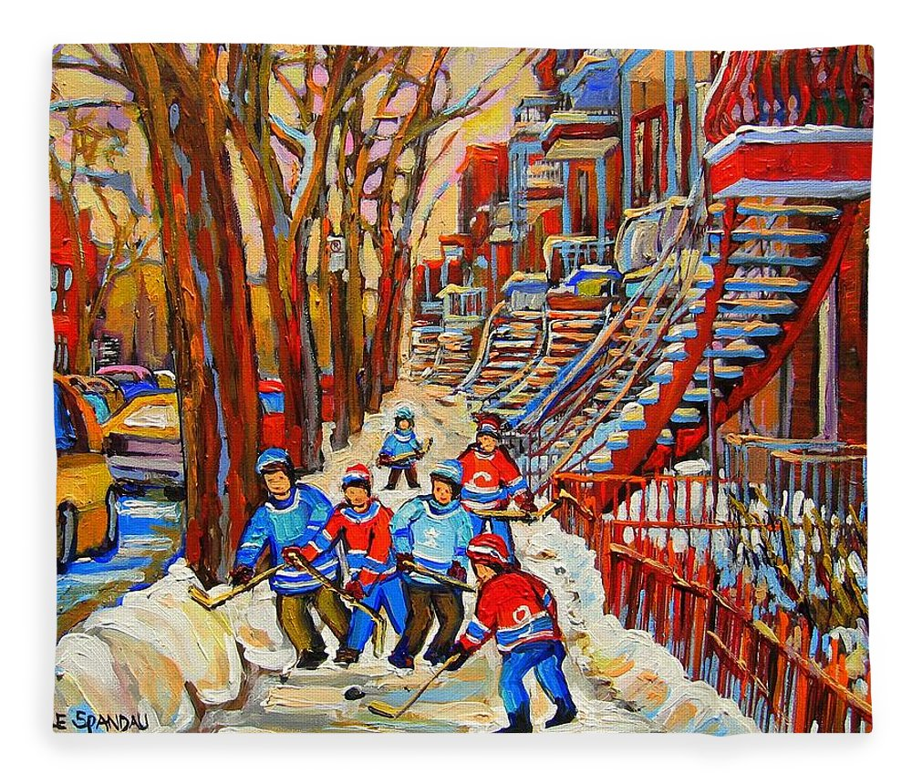 Fleece Blanket featuring the painting The Red Staircase Painting By Montreal Streetscene Artist Carole Spandau by Carole Spandau