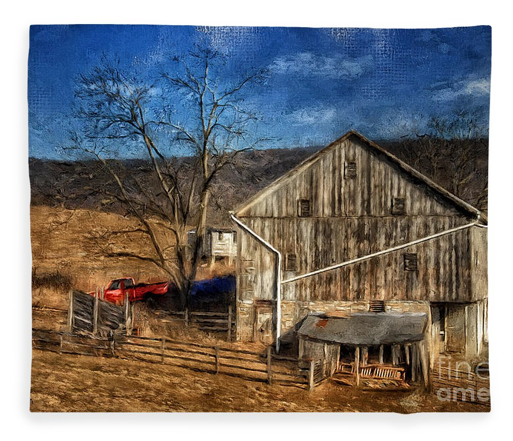 Barn Fleece Blanket featuring the digital art The Red Truck By The Barn by Lois Bryan