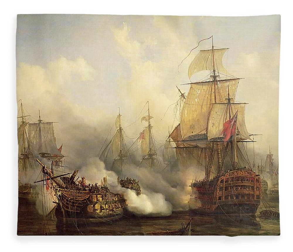 The Fleece Blanket featuring the painting Unknown Title Sea Battle by Auguste Etienne Francois Mayer