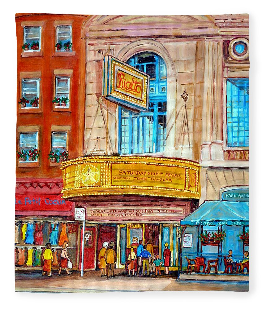 Montreal Fleece Blanket featuring the painting The Rialto Theatre Montreal by Carole Spandau