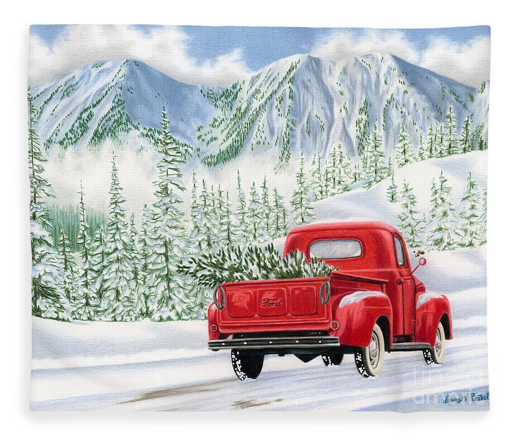 Christmas Truck Fleece Blanket featuring the painting The Road Home by Sarah Batalka