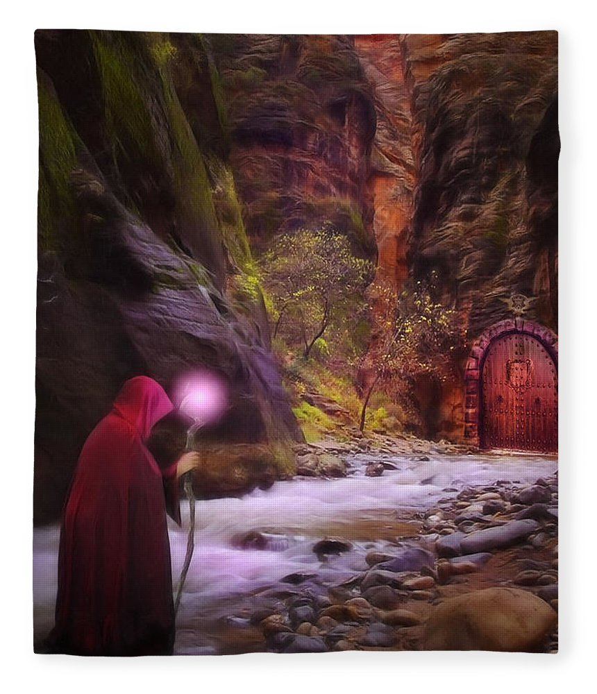 Enchantment Fleece Blanket featuring the digital art The Road Less Traveled by John Edwards