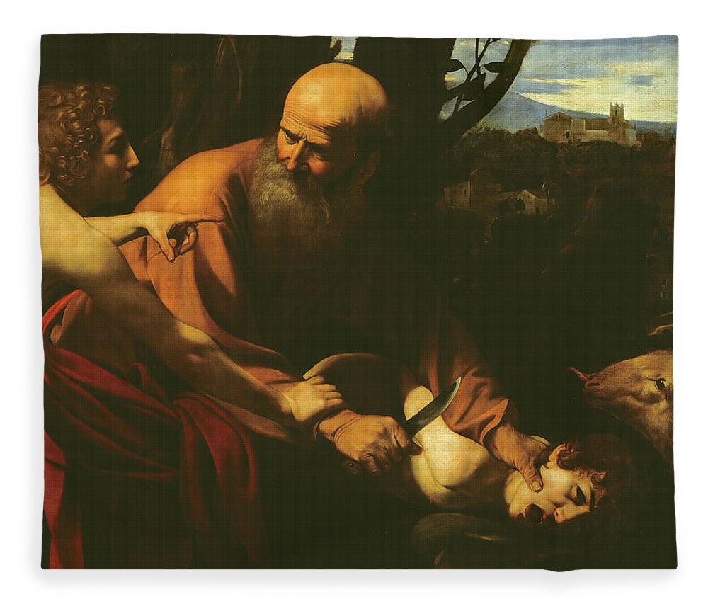 Caravaggio Fleece Blanket featuring the painting The Sacrifice Of Isaac by Caravaggio