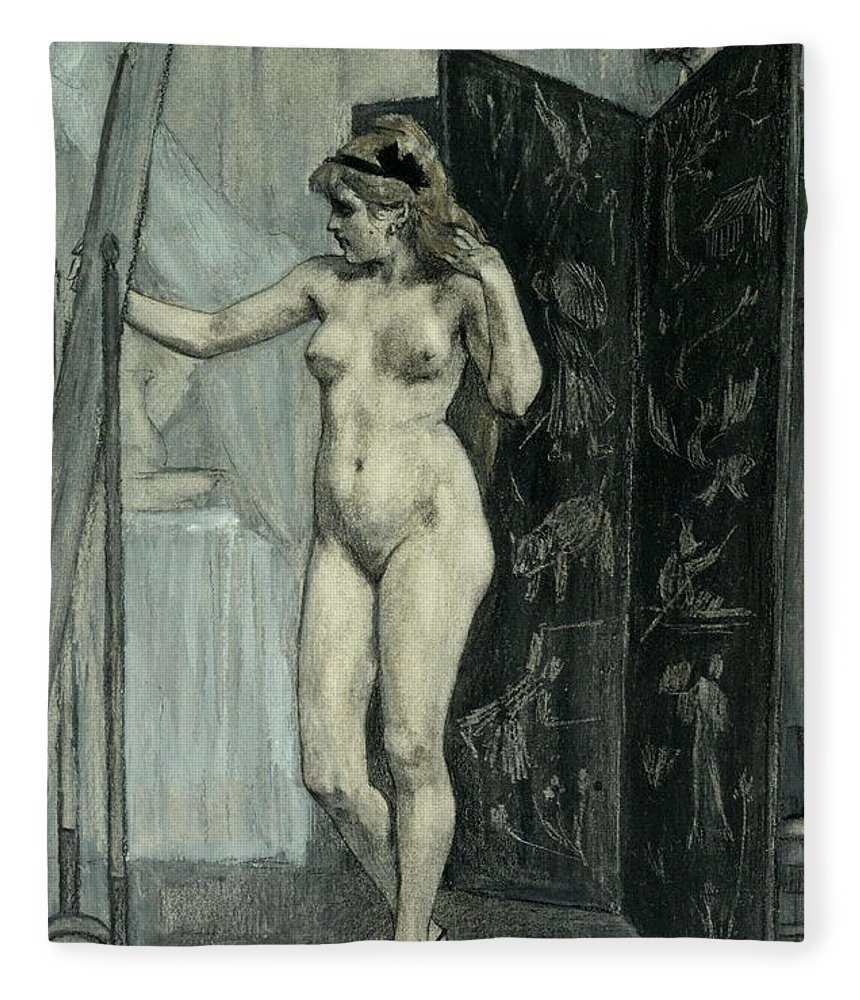 Felicien Rops Fleece Blanket featuring the drawing The Screen by Felicien Rops