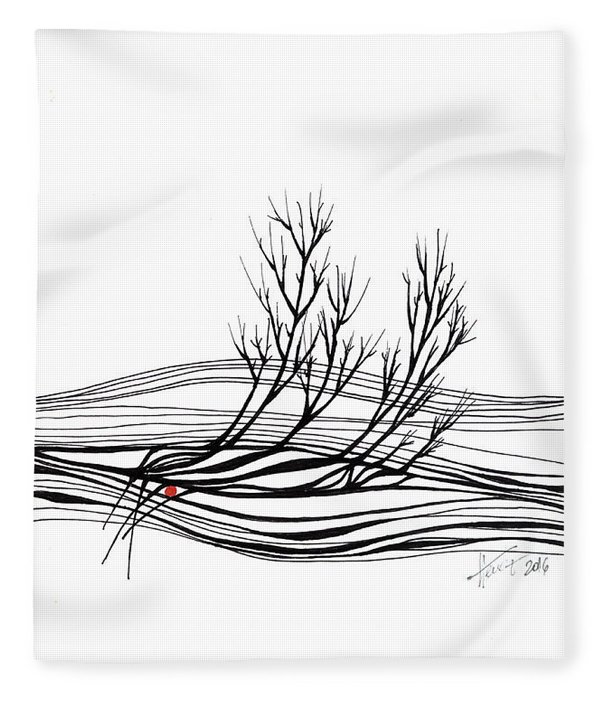 Trees Fleece Blanket featuring the drawing The seed by Aniko Hencz