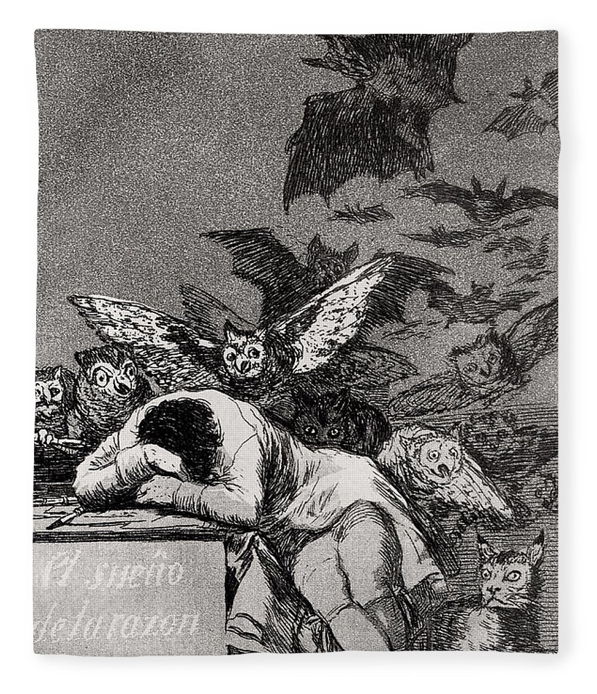 Goya Fleece Blanket featuring the drawing The Sleep of Reason Produces Monsters by Goya