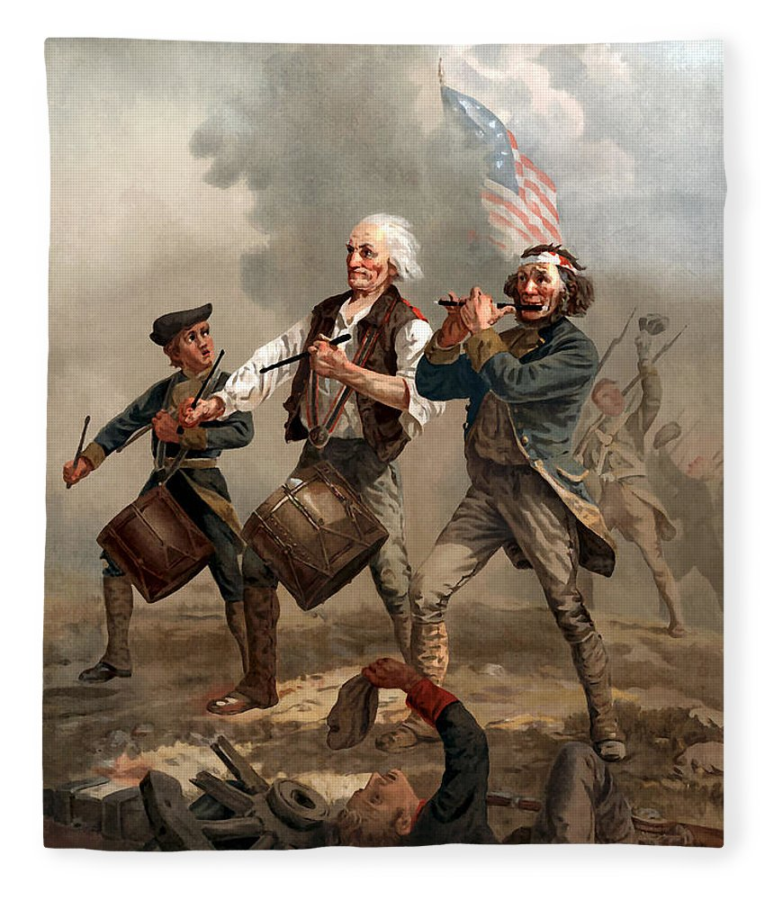 Yankee Doodle Fleece Blanket featuring the painting The Spirit Of '76 by War Is Hell Store