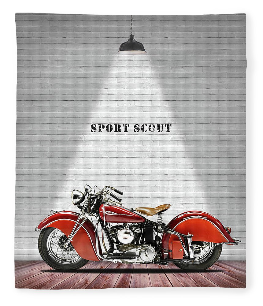 Indian Sport Scout Fleece Blanket featuring the photograph The Sport Scout Motorcycle by Mark Rogan
