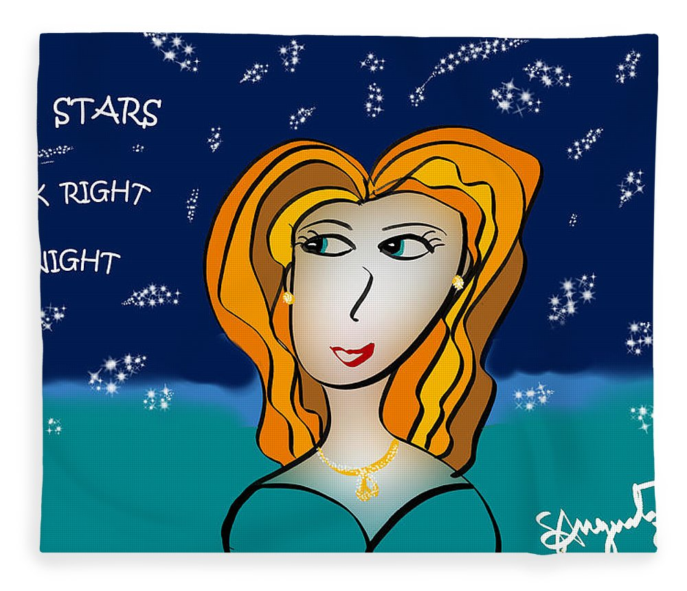 Inspire Fleece Blanket featuring the drawing The Stars Look Right Tonight by Sharon Augustin