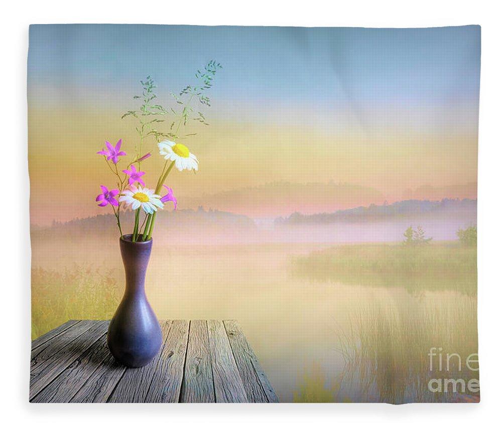 Art Fleece Blanket featuring the digital art The Summer Still Life by Veikko Suikkanen
