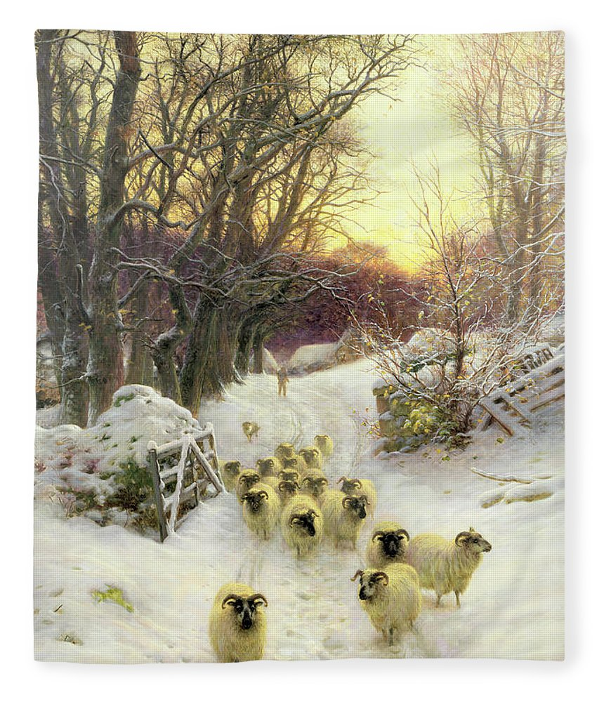 Sunset Fleece Blanket featuring the painting The Sun Had Closed the Winter's Day by Joseph Farquharson