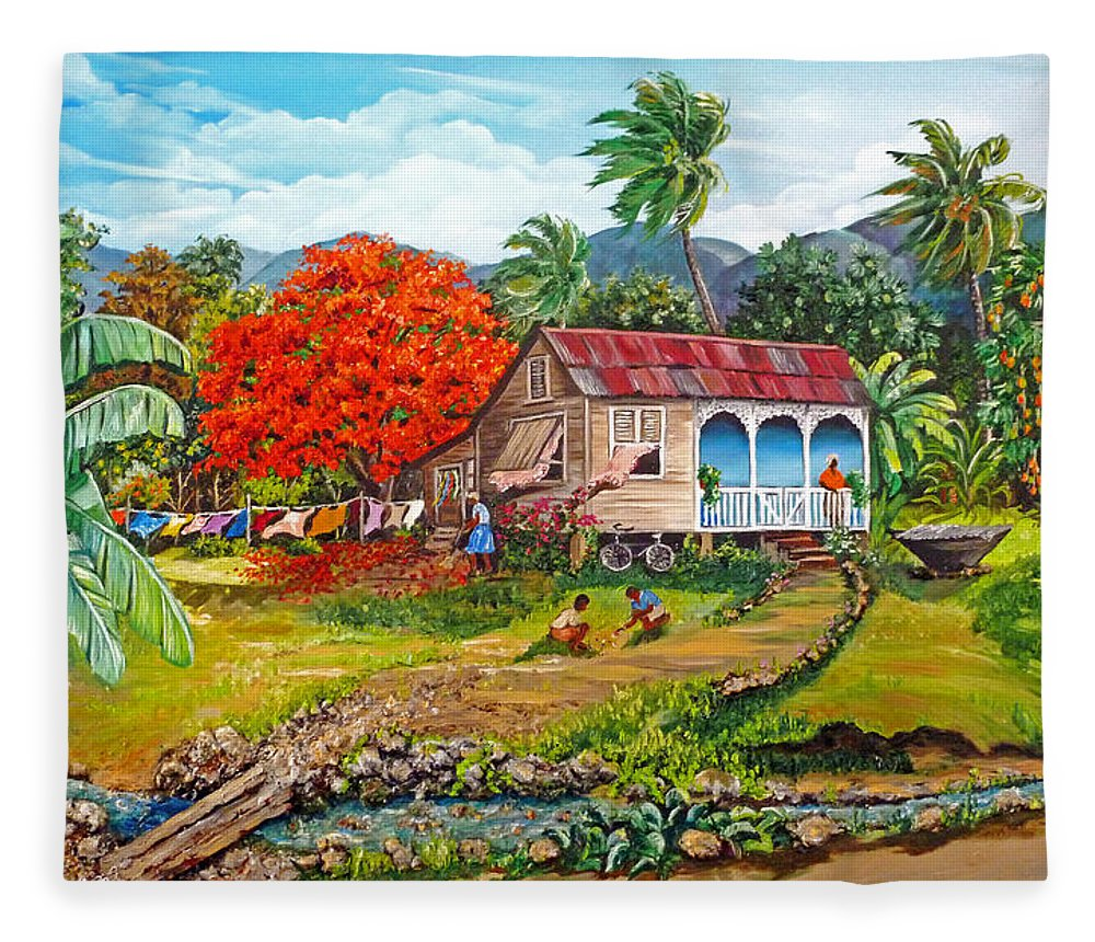 Tropical Scene Caribbean Scene Fleece Blanket featuring the painting The Sweet Life by Karin Dawn Kelshall- Best