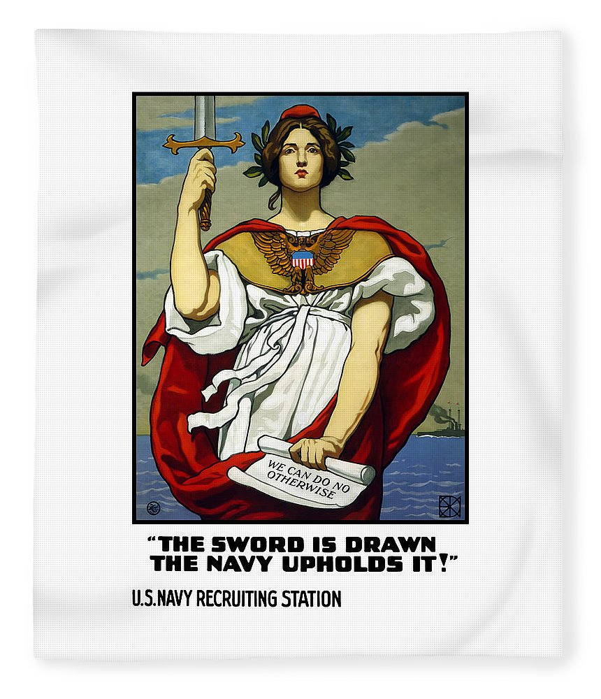 Navy Fleece Blanket featuring the painting The Sword Is Drawn - The Navy Upholds It by War Is Hell Store