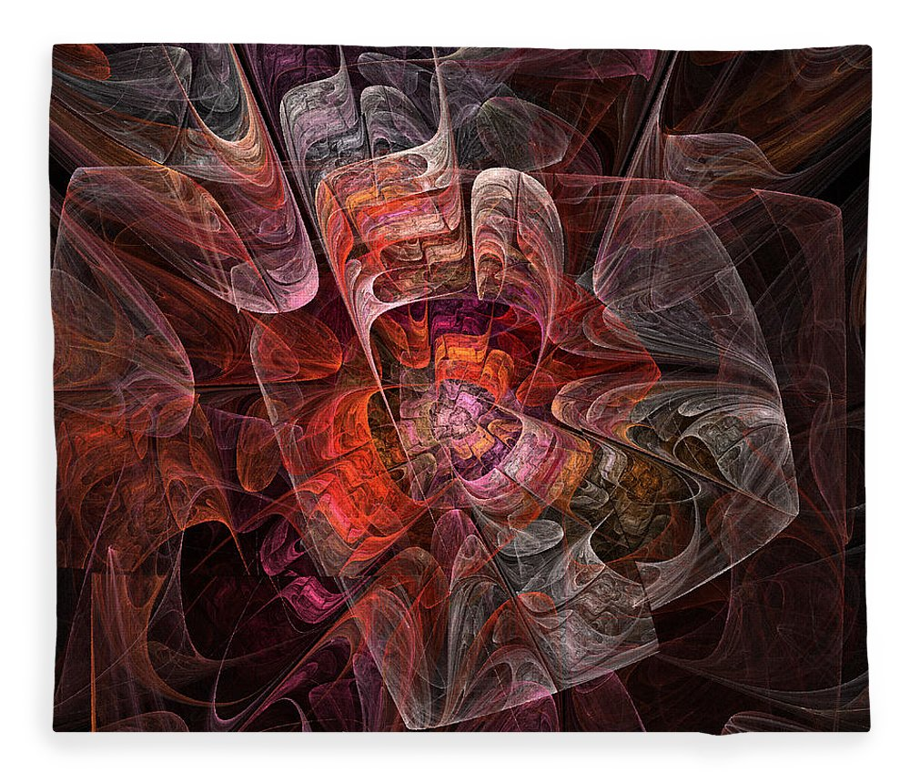 Abstract Fleece Blanket featuring the digital art The Third Voice - Fractal Art by Nirvana Blues