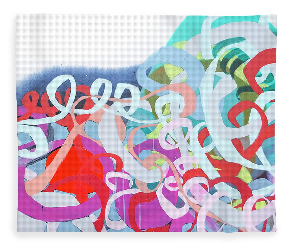 Abstract Fleece Blanket featuring the painting The Thrill Of It All by Claire Desjardins