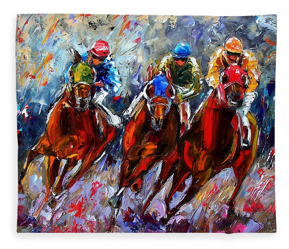 Horses Fleece Blanket featuring the painting The Turn 2 by Debra Hurd