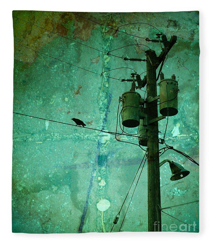 Urban Fleece Blanket featuring the photograph The Urban Crow by Tara Turner
