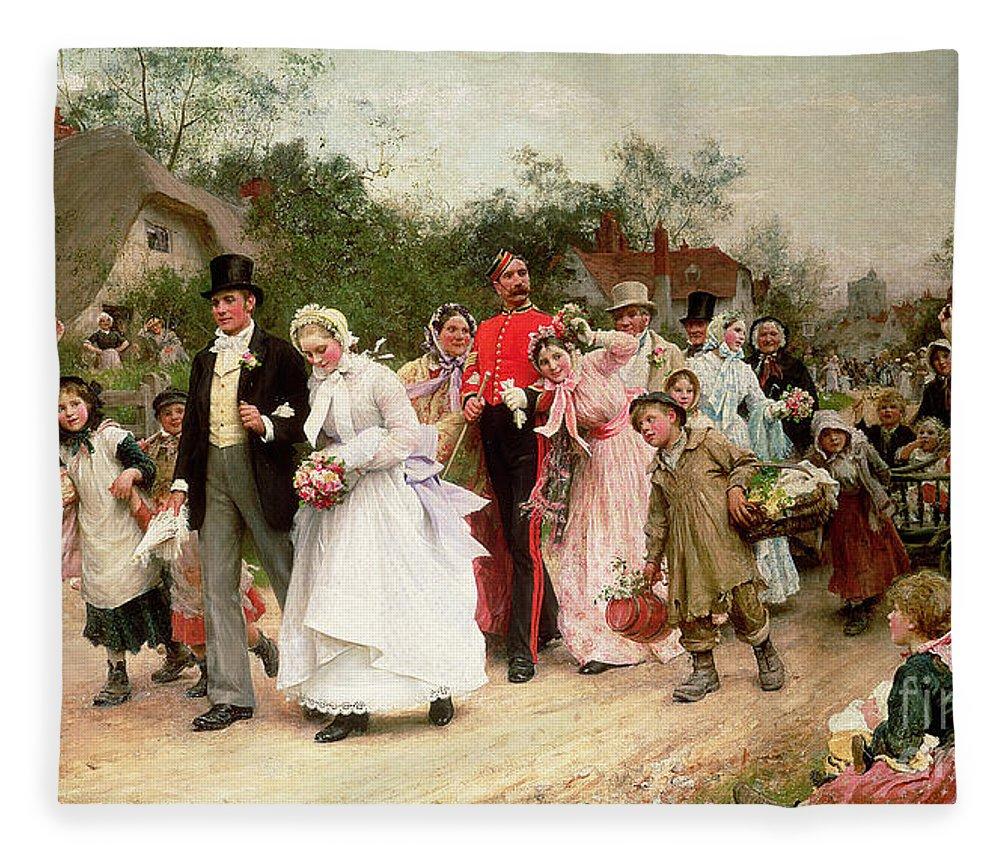 Portrait; Group Fleece Blanket featuring the painting The Village Wedding by Sir Samuel Luke Fildes