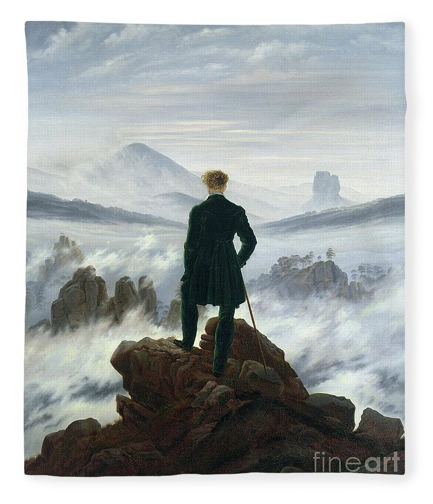 The Fleece Blanket featuring the painting The Wanderer Above The Sea Of Fog by Caspar David Friedrich