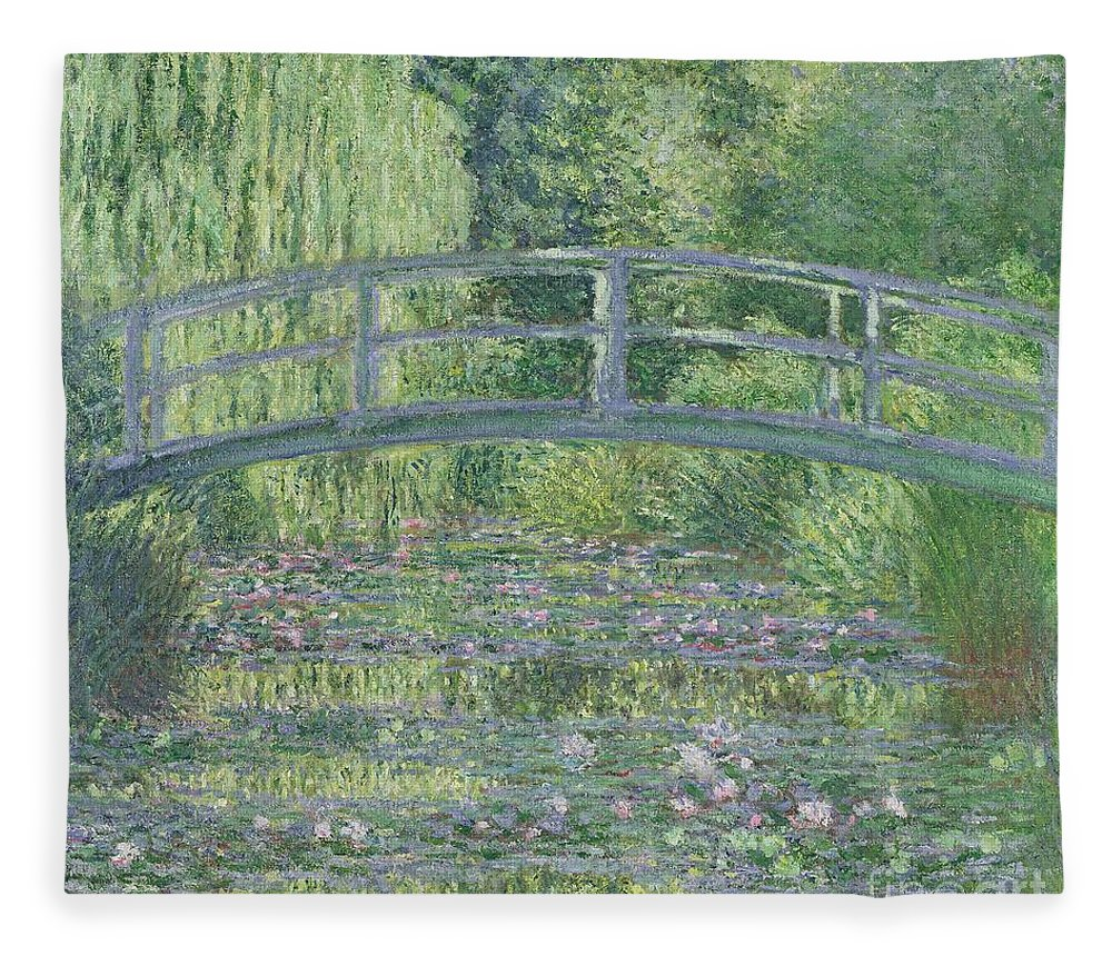 The Fleece Blanket featuring the painting The Waterlily Pond by Claude Monet