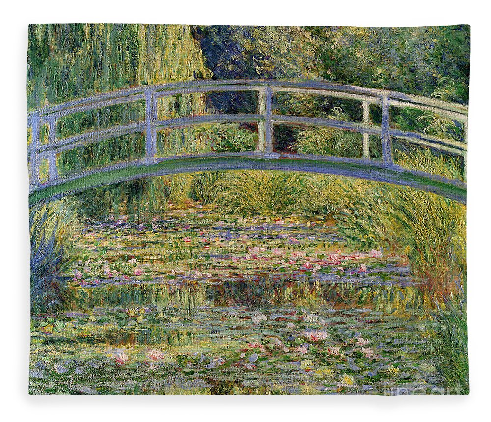The Fleece Blanket featuring the painting The Waterlily Pond with the Japanese Bridge by Claude Monet