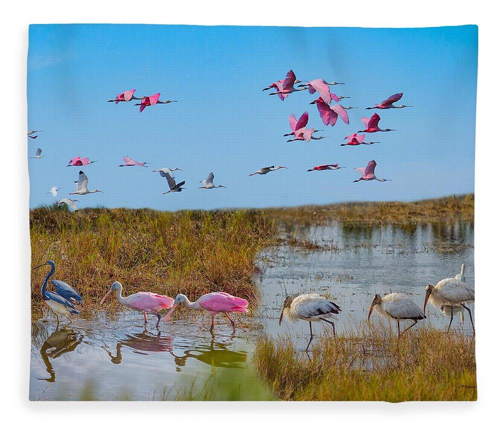 Birds Fleece Blanket featuring the photograph The Wetlands by John M Bailey