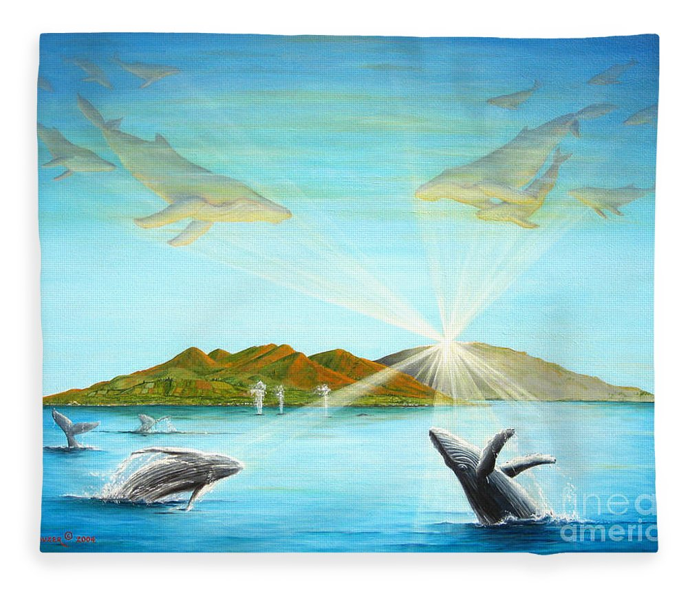 Whales Fleece Blanket featuring the painting The Whales Of Maui by Jerome Stumphauzer