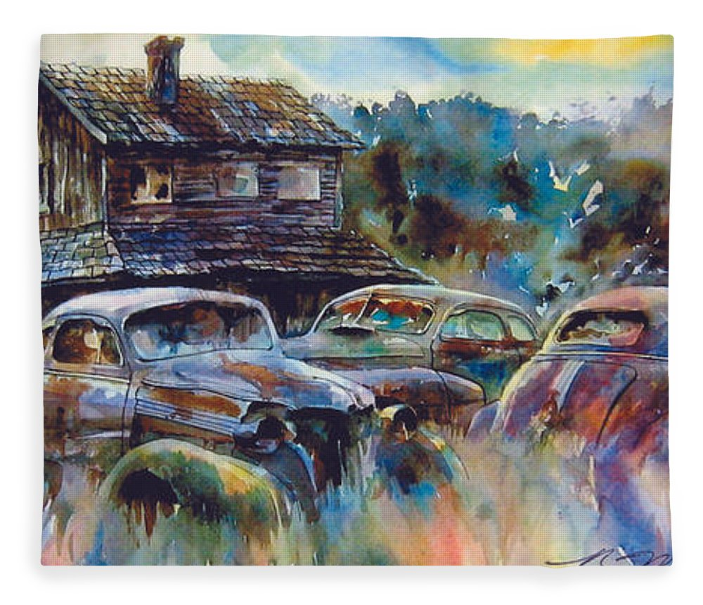 Old Rusty Dilapidated Cars House Fleece Blanket featuring the painting The Wide Spread by Ron Morrison