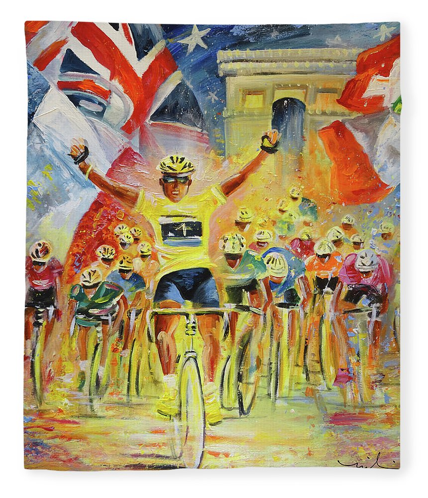 Sports Fleece Blanket featuring the painting The Winner Of The Tour De France by Miki De Goodaboom