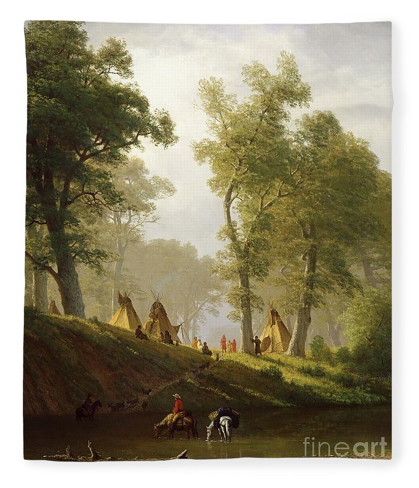 The Fleece Blanket featuring the painting The Wolf River - Kansas by Albert Bierstadt