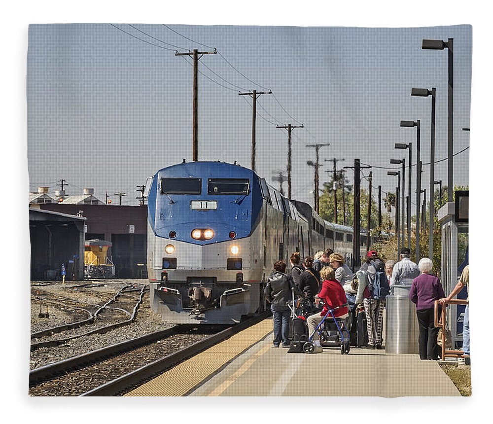 Amtrak Fleece Blanket featuring the photograph The Zypher Arriving by Jim Thompson